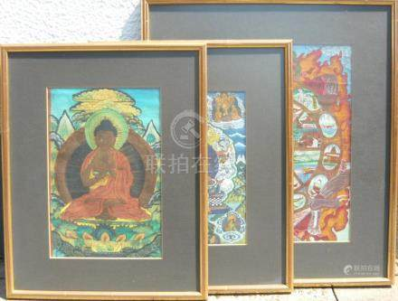 Lot of three Thangkas.