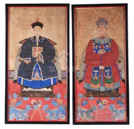 Pair Chinese Ancestral Portraits.