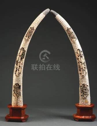 LARGE PAIR OF IVORY SCRIMSHAW CARVINGS IN THE FORM OF TUSKS