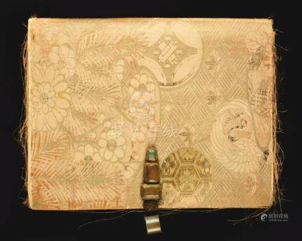 Chinese Silk Book Cover with Hardstone Archers Ring and Thre