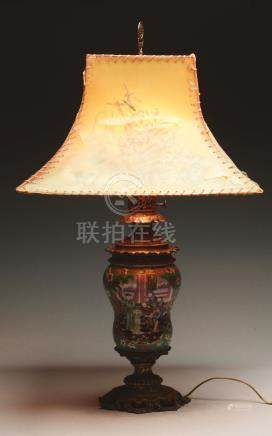Chinese Porcelain and Cast Brass Table Lamp.