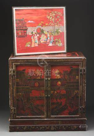 Chinese Lacquered Cabinet with Painting to Match.