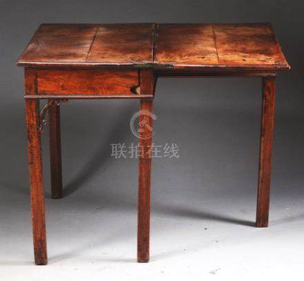 Chinese Chippendale-Style Walnut Card Table.