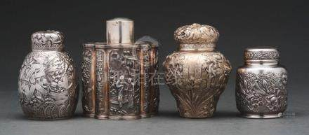 Sterling Silver Caddies, 3 American & 1 Chinese.