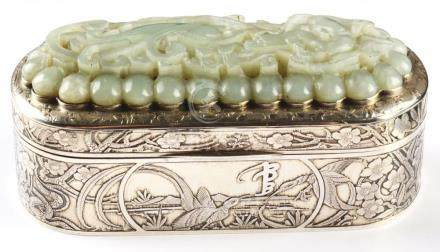 Chinese Silver & Jade Lidded Box.