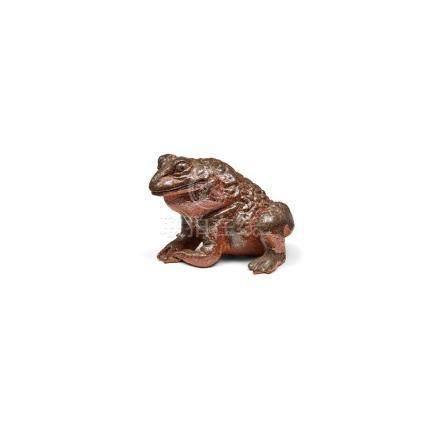 Tierfigur, Kröte, Japan, Meiji, Steinzeug. Braun glasiert. H