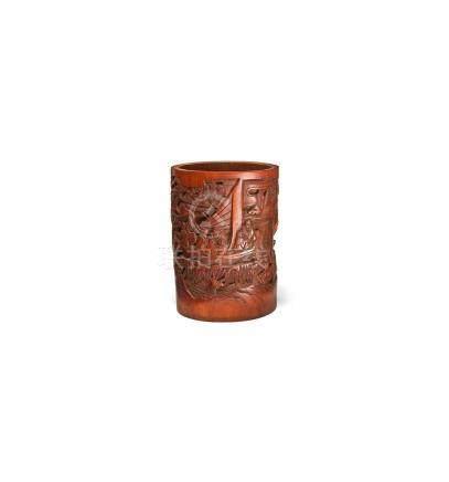 Pinselhalter, China, 19. Jh. Bambusholz, reich geschnitzt. U
