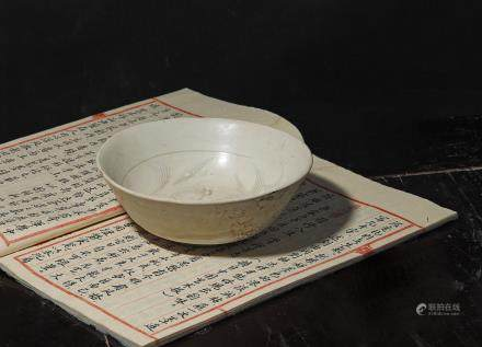 A white-glazed  bowl of Northern Song dynasty