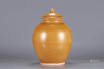 A Gongxian Kiln Yellow-Glazed Jar Of Tang Dynasty