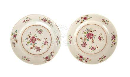 A Pair of Chinese Qianlong Famille Rose Porcelain Plates