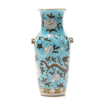 A Late 19th Century Famille Rose Vase with Two Ears