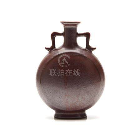 A Chinese Purple Glazed Moon Flask