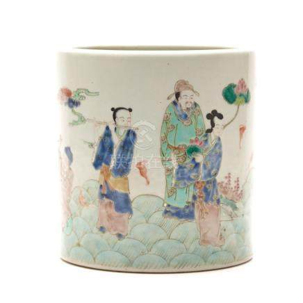 A Chinese Famille Rose Brush pot