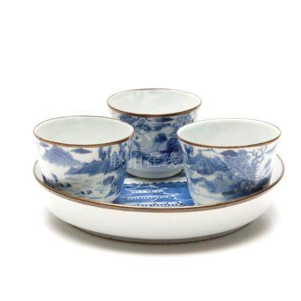 Four Late-19th Century Chinese Blue and White Porcelain Cups