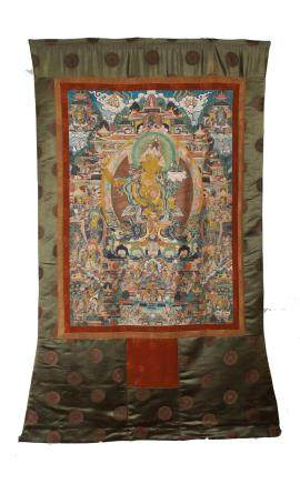 AN IMPERIAL EMBROIDERED SILK THANGKA OF  BUHHDA