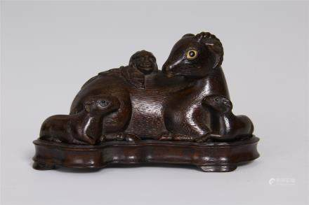 CHENGXIANG WOOD CARVED ' THREE RAMS BRING BLISS'