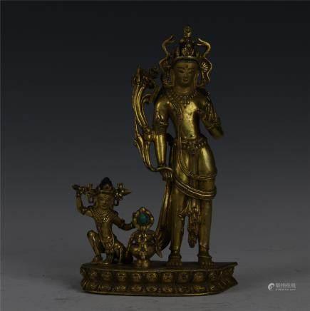 GILT BRONZE BODHISATTVAS BUDDHA STANDING SHIVA