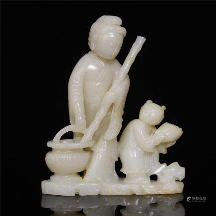 WHITE JADE  CARVED 'FIGURES' ORNAMENT