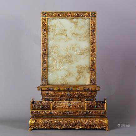 CHINESE WHITE JADE PLAQUE ON GILT BRONZE TABLE SCREEN