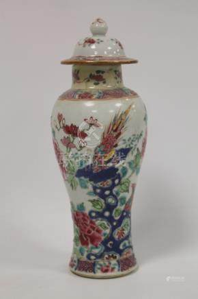 19th Chinese famille rose baluster covered vase decorated with exotic birds amongst flowers and