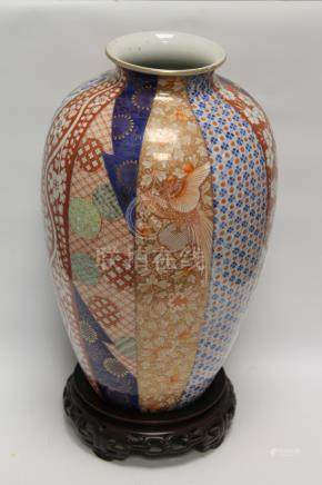 Japanese Fukagawa large porcelain vase of ovoid form, vertical panels of mons, floral lattice,
