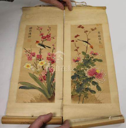 Small pair of Chinese hanging scrolls depicting birds amongst floral sprays. 50cm x 17.