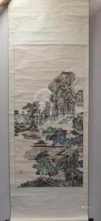 Large Chinese hanging scroll depicting a mountainous landscape, black ends.