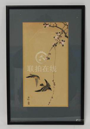 Early 20th century Japanese woodblock print of two birds with blossom,