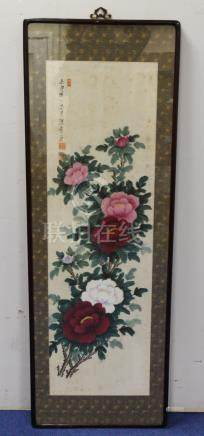 Early 20th century Chinese watercolour painting of peonies, character and seal marks,