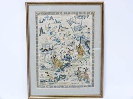 19th century Chinese silk embroidered panel depicting figures in a landscape. 30cm x 23cm.