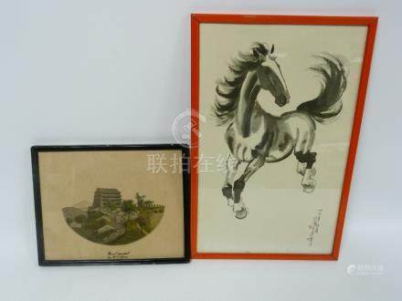 Small watercolour painting of a Chinese temple signed K.C. Chan and a Xu Beihong horse print. (2).