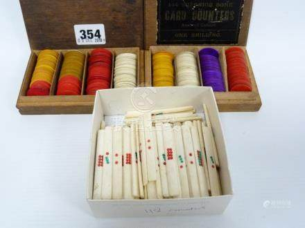 Small box of various Chinese bone counters and two other boxes of card counters.