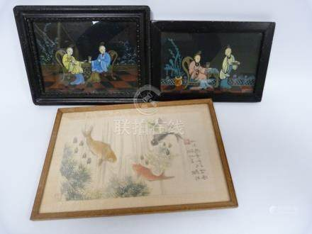 Pair of Chinese reverse painting on glass depicting ladies on a balcony,