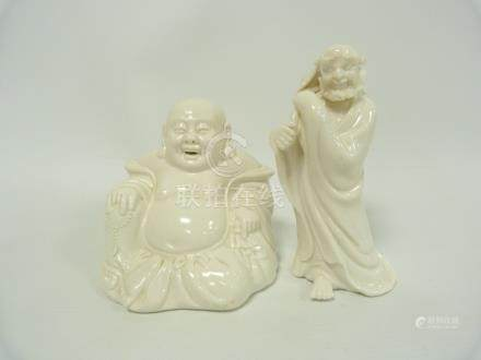 Chinese blanc de Chine figure of an immortal, 16cm high and a figure of Buddha, 12cm high. (2).