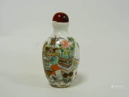 Chinese porcelain famille verte snuff bottle decorated with censers, jardinieres and flowers,