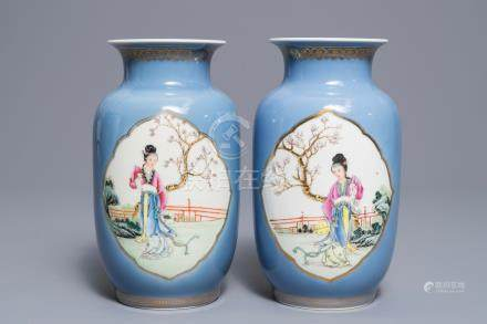 A pair of Chinese famille rose lavender blue ground vases, Qianlong mark, Republic, 20th C.