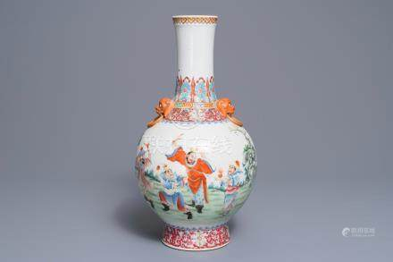 A Chinese famille rose tianqiu ping vase, Qianlong mark, Republic, 20th C.