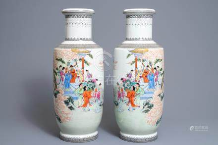 A pair of fine Chinese famille rose rouleau vases, Qianlong mark, Republic, 20th C.