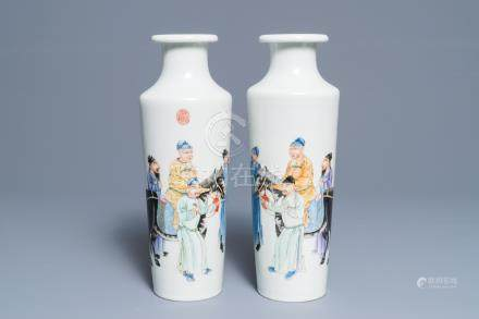 An important pair of Chinese rouleau vases with figures and calligraphy, Qianlong mark, Republic, 20th C.
