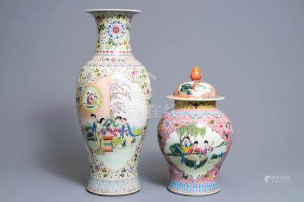 Two Chinese famille rose vases, Qianlong mark, Republic, 20th C.