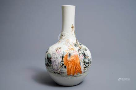 A Chinese famille rose 'Immortals' bottle vase, Qianlong mark, Republic, 20th C.