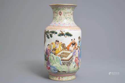 A Chinese famille rose lantern vase with go players, Qianlong mark, Republic, 20th C.