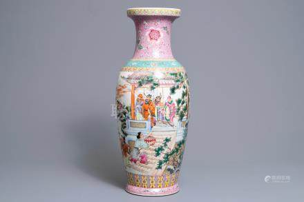 A fine Chinese famille rose vase, Qianlong mark, Republic, 20th C.