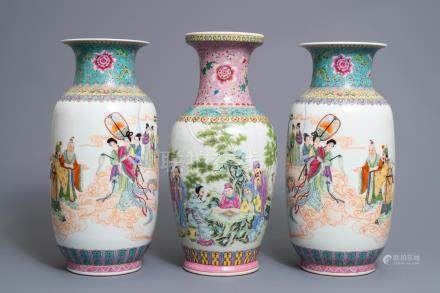 Three Chinese famille rose vases, Qianlong mark, Republic, 20th C.
