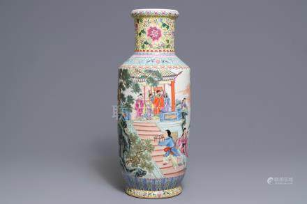 A fine Chinese famille rose rouleau vase, Qianlong mark, Republic, 20th C.