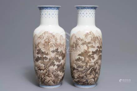 A pair of Chinese landscape vases, signed Zhou Guo Jun, Republic, 20th C.