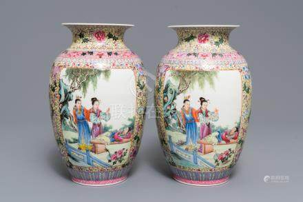 A pair of fine Chinese famille rose vases, Qianlong mark, Republic, 20th C.