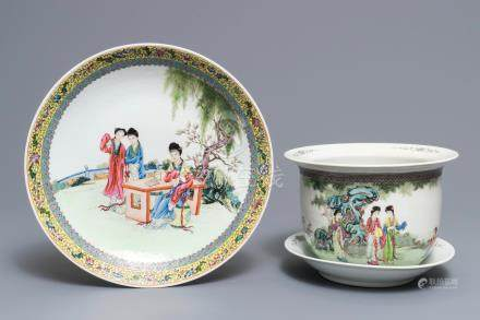 A Chinese famille rose dish and a jardinière on stand, Republic, 20th C.