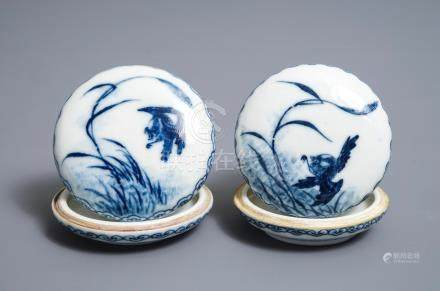A pair of Chinese blue and white seal paste boxes, Republic, 20th C.