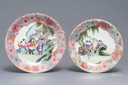 Two fine Chinese famille rose 'millefleurs' dishes, Qianlong mark, Republic, 20th C.